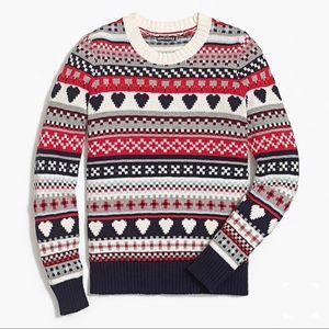 J. Crew Mercantile Navy Heart Fair Isle Sweater